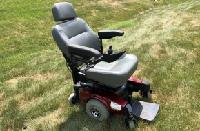 "Invacare ""Pronto M61"" power wheelchair with ""SureStep"" technology and 5"" lift seat"